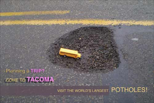 Tacoma Postcard, by Elayne Vogel and George Boucier - POTHOLES