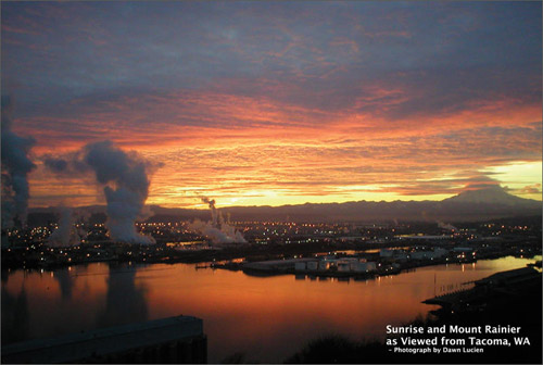 Tacoma Postcard, by Dawn Lucien - SUNRISE AND MOUNT RAINIER