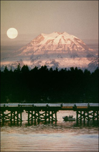 Tacoma Postcard, by MJudy Wagner - MT. RAINIER/BRIDGE