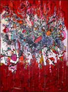 Abstract Art by Wilbur M. Reeling, Evolution of Red, 2012, oil paint, pigmented ink and watercolor on canvas, 78 x 50 inches