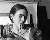 Photograph of Frida Kahlo by Lucienne Bloch on display at PDNB Gallery in Dallas, March 1 - April 15, 2017