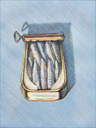 Print by Wayne Thiebaud, Sardines, 1982 available from Leslie Sacks Fine Art in Los Angeles