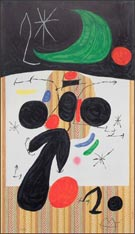 Print by Joan Miro, Interieur et Nuit, 1969, available from Leslie Sacks Fine Art in Los Angeles