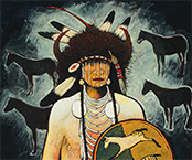 Artwork by Kevin Red Star in Native Portraiture exhibition at Tacoma Art Museum in Tacoma, WA, through March 2, 2020, 050219