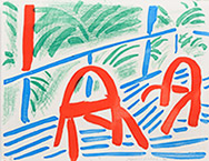 Artwork by David Hockney available from Leslie Sacks Gallery in Santa Monica, CA, July 2020, 061420