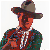 Artwork by Andy Warhol prtrait of John Wayne available from Martin Lawrence Galleries in Los Vegas, December 2020, 121920