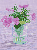 Print by David Hockney dated 2010 available from Leslie Sacks Gallery in Santa Monica, CA, January 2021, 012121