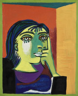 Artwork by Pablo Picasso, Portrait of Dora Maar dated 1937 on exhibition at Frist Art Museum in Nashville, TN, Feb 5 - May 2, 2021, 021821