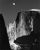 Photography by Ansel Adams, Moon and Half Dome, from The Ansel Adams Gallery in Yosemite.