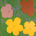 Print by Andy Warhol, Flowers, 1970, 36 x 36 inches, edition of 250, signed and numbered available from Leslie Sacks Contemporary in Santa Monica, CA