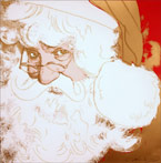 Print by Andy Warhol, Santa Claus, from Myths, 1981, signed and numbered available from Leslie Sacks Fine Art in Los Angeles