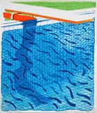 Art by David Hockney, Pool Made with Paper and Blue Ink, 1980, signed and numbered available from Leslie Sacks Fine Art in Los Angeles